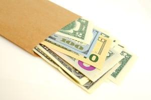Money in envelope.